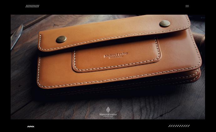 本色手工皮具-半盖手包长夹