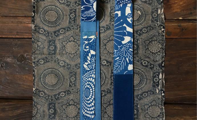 蓝染复古拼布领带