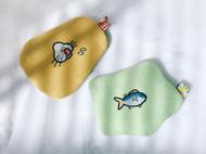 原创刺绣小猫馋鱼 不规则迷你收纳包