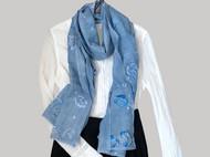 植物蓝染手绘围巾——落花