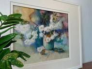 客厅书房装饰挂画乱针绣木香花