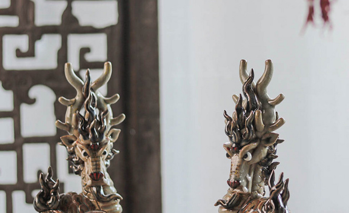 器十二原创纯手工陶瓷茶宠摆件 神兽鳌