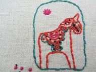 纯手工麻布刺绣 图章小马款