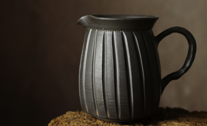 纯手工复古仿古茶具日式禪風茶道細陶茶壶 功夫茶具-扣把手刻公道杯