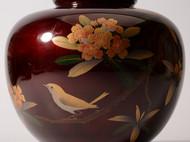 和风花瓶 日本花道正宗花器 花鸟图文 精美大气 日本直邮