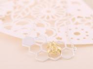 S925纯银锁骨链 甜蜜的小窝纯银镀18k金锁骨链 蜜蜂蜂巢项链