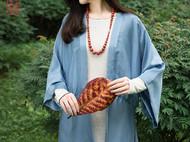 隐机者 100%桑蚕丝砂洗素绉缎 中式对襟宽袖女式开衫真丝外披外套