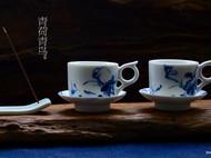 匠器家 手绘定制 咖啡杯 手工马克杯 青黛 创意 陶瓷咖啡杯
