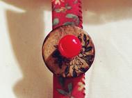 红底雏菊棉布椰壳扣红玛瑙发卡