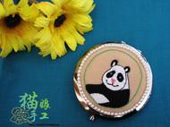 刺绣熊猫镜子