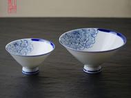 【隐机者】花间 手绘青花斗笠碗 景德镇手工拉胚绘制 中式米饭碗