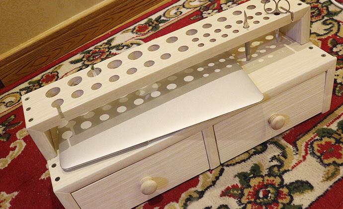 大拿手工 实木免漆板 皮雕工具架  皮艺工具架   diy工作台 可定制