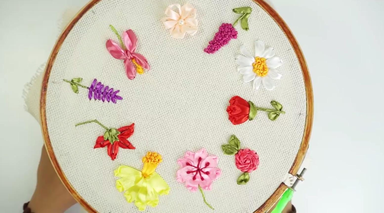 丝带绣初学者视频教程   10种花卉的刺绣方法