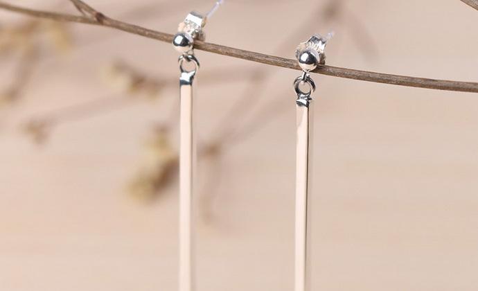 valentina925银简约款耳钉欧美时尚简单大方几何方条形长款耳坠女