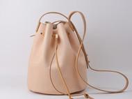 vintage手工水桶包牛皮植鞣皮 女式单肩水桶包 真皮斜跨女包