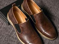 2016新款秋季日系手工做旧休闲套脚真皮复古男式皮鞋
