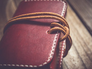 手染红色小卡包/零钱包