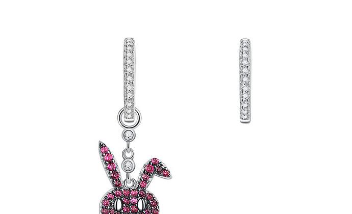 CAMBAS刊芭思 莓粉兔耳环 925纯银少女心网红不对称耳钉女