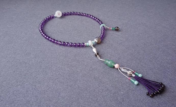紫水晶手串手链中国风汉服【紫鸢】