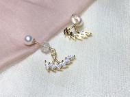 M.Q奎妮小姐 风之羽翼/14K黄金天然淡水珍珠耳钉