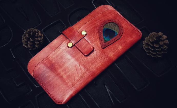 复古木纹孔雀手拿包/手机包