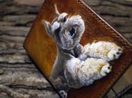 盏鬼手作 手工皮雕皮刻 竖款钱包 宠物皮雕创意立体个性短夹