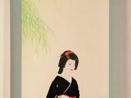 【日本画】日本直邮包邮日式和风和纸和服艺妓女人精致收藏料理店装饰日本颜料礼物