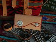 集点手作坊 手工皮具 枥木鞍革 银扣 复刻鹫见太郎 长款财布钱包
