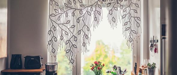 结绳:不对称藤蔓结绳窗帘