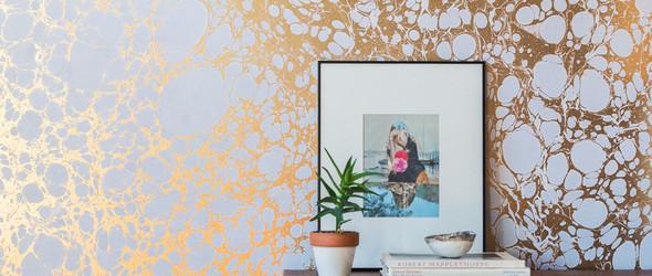 设计师Rachel Mosler和Nick Cope手工制作大理石纹墙纸
