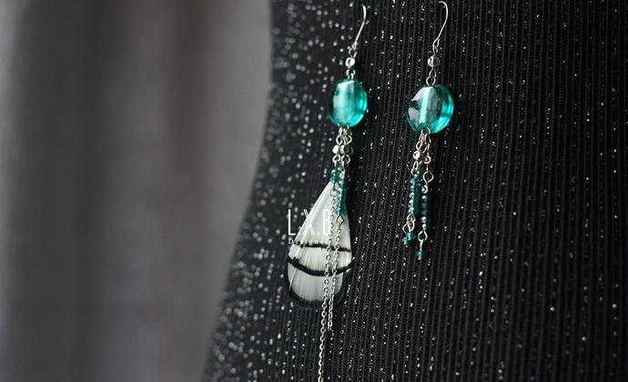 【LXB私人设计】古风 琉璃 水晶 羽毛 不对称流苏耳环 现货