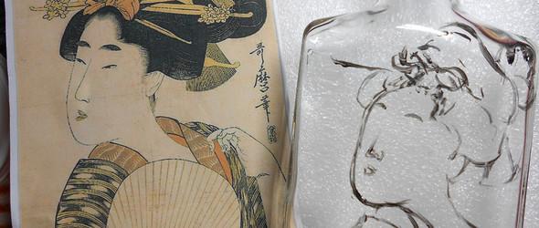 """日本浮世绘《浅聊浮世绘""""美女图""""与中国古代""""仕女图""""的区别》—玻璃瓶载体"""