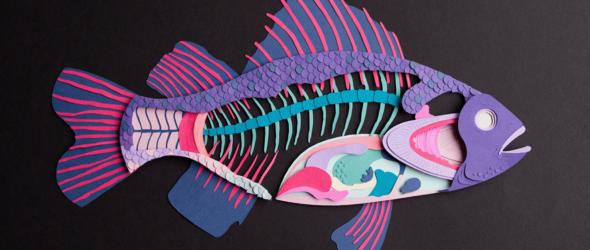 秘鲁艺术家Ana Iglesias的纸雕鱼骨头