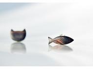 原创手工檀木质耳钉925纯银耳针耳饰男女猫咪和鱼
