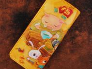猫猫面店皮雕折叠钱包