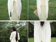 隐机者 真丝乔其绒 新中式立裁桑蚕丝绒 女式春秋长袖风衣长外套