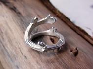 【新蕾。序】独立设计 手工纯银 银白本色 树枝戒指 缠枝款