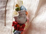 森女系 花丛里睡觉的灰色条纹小萌猫 浆果 发箍