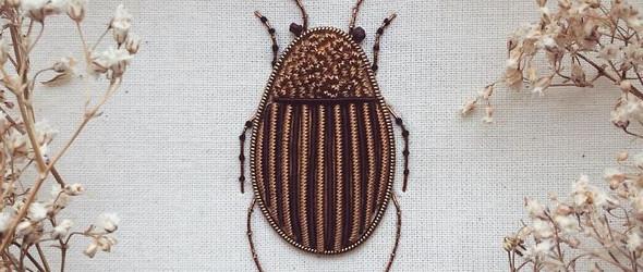手工藝人 Humayrah Poppins 手繡立體生動的昆蟲