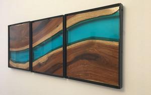 木板上的蜿蜒河流   手工打造的原木玻璃装饰画DIY教程