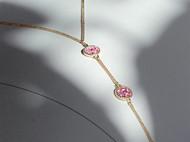 M.Q奎妮小姐 精致粉钻四叶草天然珍珠锁骨链