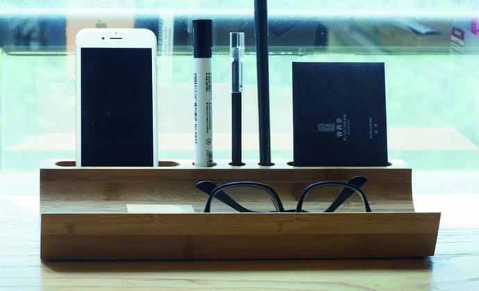 梵瀚 zakka桌面收纳盒 竹木创意文具多功能书桌办公桌收纳 置物架