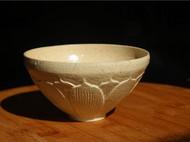 【八九燕来】米色荷花碗 茶碗饭碗抹茶碗