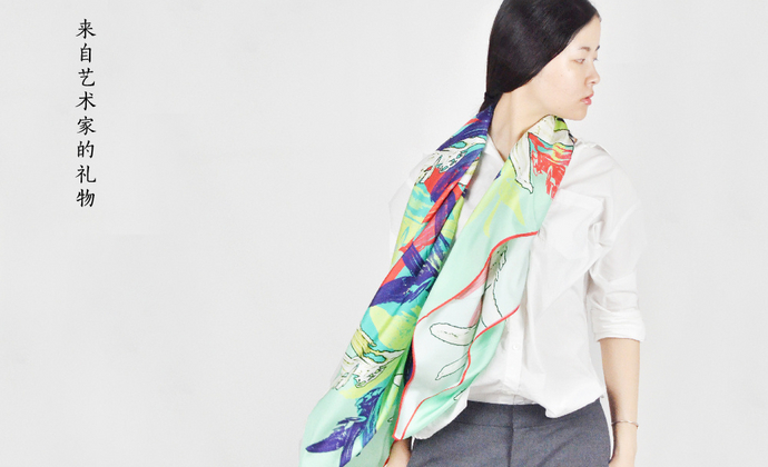 来自艺术家的礼物丨川朴原创《一叶知秋 红绿》油画100%真丝斜纹绸大方巾