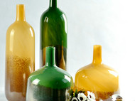 简约现代客厅花瓶黄色玻璃瓶 插花花器摆件工艺品家居饰品插花瓶
