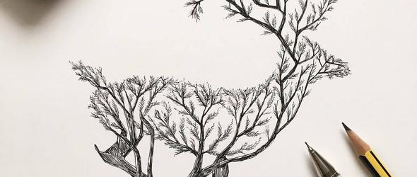意大利插画师 Alfred Basha 充满幻想主义色彩的黑白插画