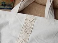 原创手工文艺棉麻森林系森女蕾丝原色全棉帆布拖特单肩包女包