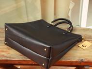 【老物新造】纯黑牛皮大手提托特包  马骝手工皮革