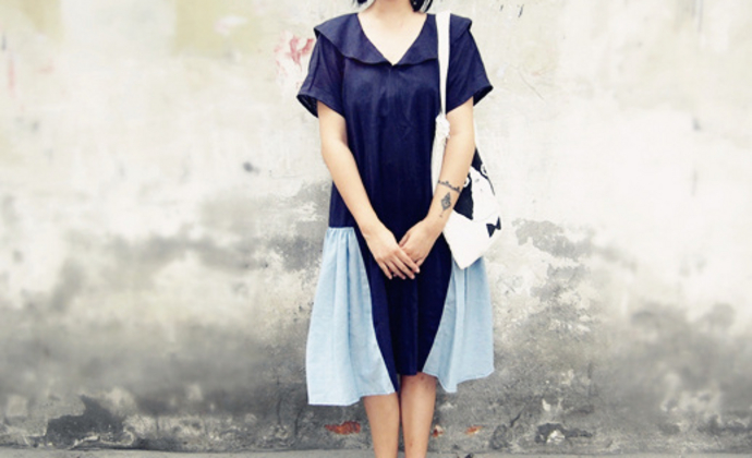 原创日韩风格拼接复古海军领连衣裙 宽松棉麻长裙