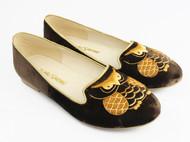 猫头鹰手绣真丝绒平底鞋 苏绣 祖母绣堂 设计师品牌